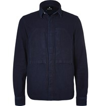 Snow Peak Okayama Slim Fit Indigo Dyed Cotton Shirt Blue