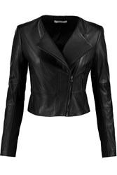 J Brand Landing Stretch Jersey Paneled Leather Jacket Black