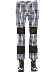 Alexander Mcqueen Flared Plaid Wool And Lace Pants