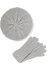Portolano Cable Knit Cashmere Beret And Gloves Set Gray