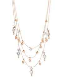Inc International Concepts Rose Gold Tone Crystal And Bead Layer Necklace Only At Macy's