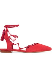 Schutz Billie Lace Up Suede Point Toe Flats Red