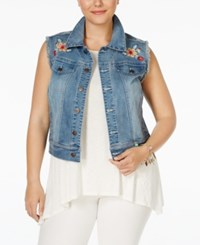 American Rag Plus Size Embroidered Eartha Wash Denim Vest Only At Macy's