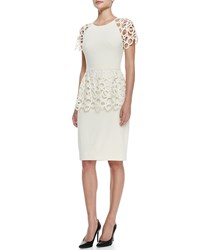Lela Rose Circle Lace Peplum Dress Ivory