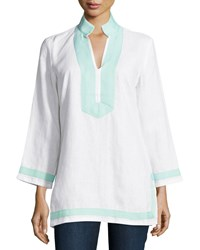 Sail To Sable Classic Linen Long Sleeve Tunic White Cabbage