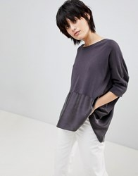 Paisie Knitted Top With Silk Panel Grey