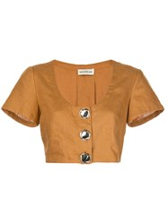Nicholas Cropped Button Top 60