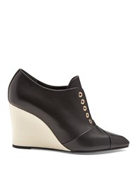 Lanvin Point Toe Leather Wedges Black