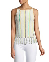 Cupcakes And Cashmere Cecille Sleeveless Striped Crochet Top W Tassel Hem Beige