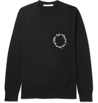 Givenchy Slim Fit Embroidered Cashmere Sweater Black