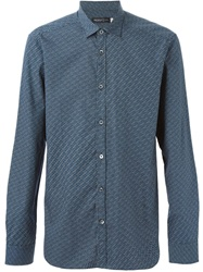 Pringle Of Scotland Dot And Stripe Print Shirt Blue