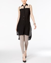Cable And Gauge Mesh Trim High Low Tunic Jet Black Latte Colorblock