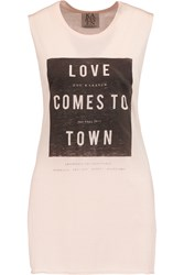 Zoe Karssen Love Comes To Town Printed Jersey Tank Pink