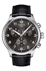 Tissot T Sport Chronograph Leather Strap Watch 45Mm Black Silver