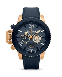 Brera Orologi Militare 14K Rose Gold And Navy Blue Ionic Plated Stainless Steel Watch With Navy Blue Rubber Strap 48Mm