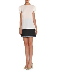 Miu Miu Pearly Embroidered Puff Sleeve Top White