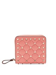 Valentino Rockstud Spike Quilted Leather Wallet Pink