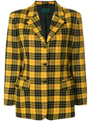 Jean Paul Gaultier Vintage Check Fitted Blazer Yellow And Orange