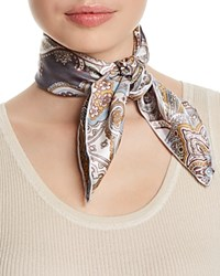 Fraas Paisley Silk Square Scarf Gray