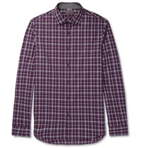 Michael Kors Slim Fit Checked Cotton Poplin Shirt Burgundy
