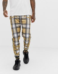 Jaded London Joggers In Baroque Check Print Beige