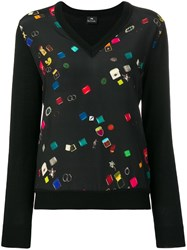 Paul Smith Ps By V Neck Panelled Blouse Black
