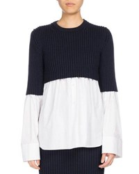 Kenzo Mixed Knit Long Sleeve Top White