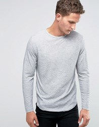 Selected Homme Long Sleeve O Neck Top With Curved Hem Light Grey