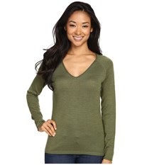 Smartwool Granite Falls V Neck Top Light Loden Heather Women's Long Sleeve Pullover Green