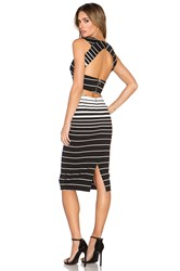 Nicholas Corsica Stripe Deep V Dress Black And White