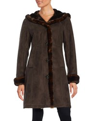 Gallery Plus Faux Fur Trimmed Hooded Coat Chocolate