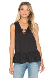 Maven West Lace Up Peplum Top Black