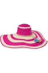 Sophie Anderson Corozon Pompom Embellished Striped Straw Sunhat Pink