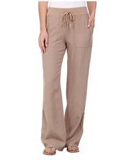 Mod O Doc Linen Rayon Straight Leg Roll Up Pant Flax Women's Casual Pants Beige