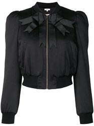 Manoush Bow Ribbon Detail Bomber Jacket Black