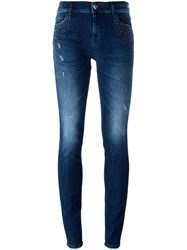 Twin Set Heart Shape Pocket Skinny Jeans Blue