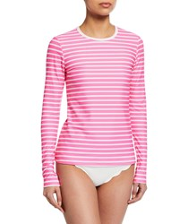 Cover Perfect Striped Long Sleeve Swim Tee Pink
