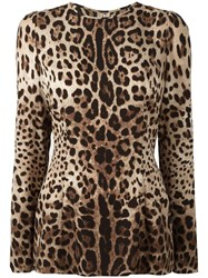 Dolce And Gabbana Leopard Print Top Brown