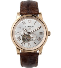 Links Of London Noble Rose Gold Plated Watch Brown