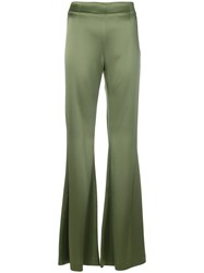 Galvan High Waisted Trousers Polyester Triacetate Green