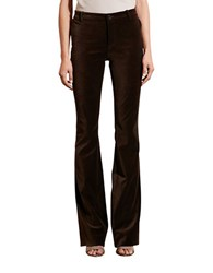 Lauren Ralph Lauren Cotton Blend Flared Velvet Pants Brown