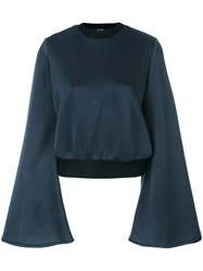 Ellery Flared Sleeve Top Cotton Blue