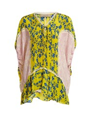 Preen Line Ivy Floral Print Lace Trimmed Blouse Yellow Multi