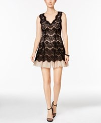 Betsy And Adam Petite Lace Tulle A Line Dress Black Nude