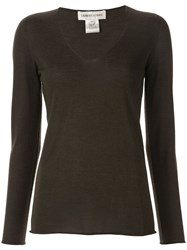 Lamberto Losani V Neck Jumper Brown