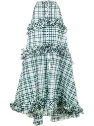 Rosie Assoulin Ruffle Gingham Tiered Skirt Green
