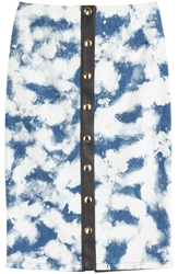 Fausto Puglisi Denim Skirt With Leather Detail