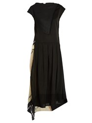 Loewe Scarf Panelled Linen Dress Black