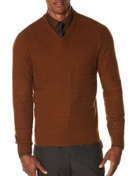 Perry Ellis Regular Fit Long Sleeve Pullover Bright Chestnut