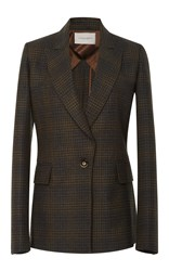Carolina Herrera Notch Collar Checkered Blazer Brown